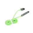 Platinet USB kábel 2in1 - Micro USB & Apple Lightning (Android & iPhone) 1m zöld