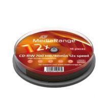 MediaRange CD-RW 700 MB 12x lemez, cake (10) MR235