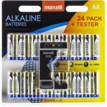 Maxell AA Méretű 1,5V Alkáli Ceruza Elem LR06 - 24Blister + Tester