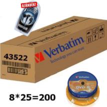 Verbatim DVD-R 16X 4.7 GB cake lemez, kartonban (8x25) + ajándék
