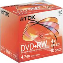 TDK DVD+RW 4,7GB 4X normál tokban (10)