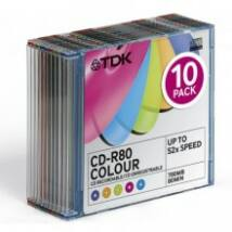 TDK CD-R 52X COLOUR 700MB SLIM CASE  (10)