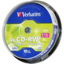 Verbatim CD-RW 12x lemez, cake (10)