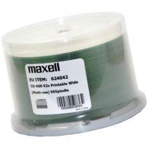 Maxell CD-R 52x teljes felületén nyomtatható lemez, cake (50) NO ID