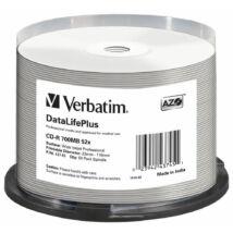 Verbatim CD-R 52x teljes felületén nyomtatható lemez, NO ID cake 50 professional