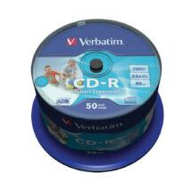 Verbatim CD-R 52x teljes felületen nyomtatható lemez, ID Branded cake (50)
