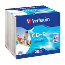 Verbatim CD-R 52x Nyomtatható lemez, slim Tokban (20)
