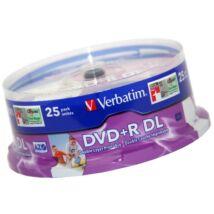 Verbatim DVD+R 8x DL 8,5 GB megnövelt kapacitású, nyomtatható lemez, cake (25)