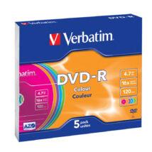 VERBATIM DVD-R 16X 4,7GB színes lemezek, slim tokban (5)