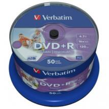 Verbatim DVD+R 16x teljes felületén nyomtathatólemez, cake (50) No ID
