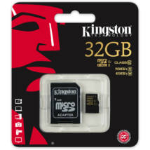 32GB Micro SDHC Kingston UHS-I class 10 R90, W45 + adapter