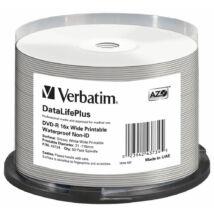 VERBATIM DVD-R 16X WIDE GLOSSY PRINTABLE WATERPROOF NO ID BRAND CAKE 50
