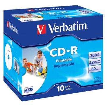 Verbatim CD-R 52X Teljes Felületén Nyomtatható Lemez - Normál Tokban (10)