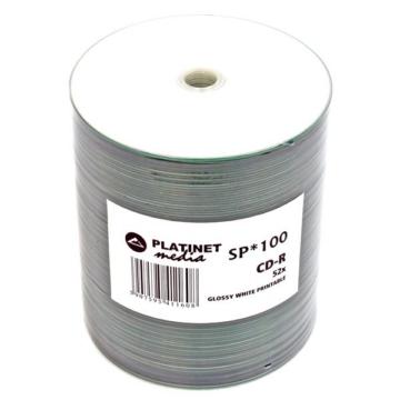 Platinet CD-R 52X Fényes Felületű Nyomtatható Lemez, Shrink (100)
