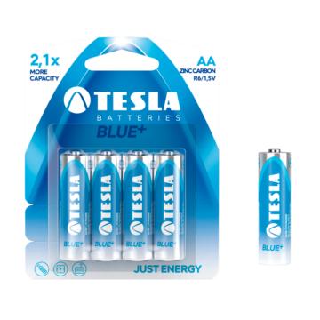 Tesla AA Méretű 1.5V Cink-Karbon Ceruza Elem Blue+ (4 Blister) R06
