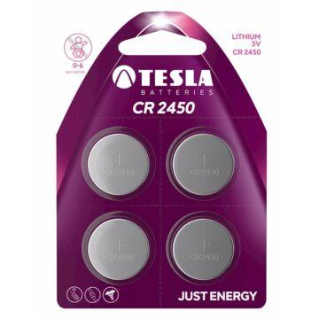 Tesla CR2450 Típusú 3V Lítium Gombelem (4 Blister)