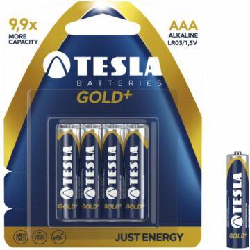Tesla AAA Méretű 1.5V Alkáli Ceruza Elem Gold+ (4 Blister) Lr03