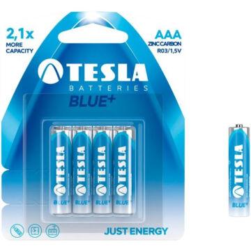 Tesla AAA Méretű 1.5V Cink-Karbon Ceruza Elem Blue+ (4 Blister) R03