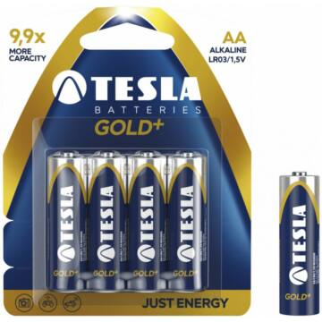 Tesla AA Méretű 1.5V Alkáli Ceruza Elem Gold+ (4 Blister) Lr06