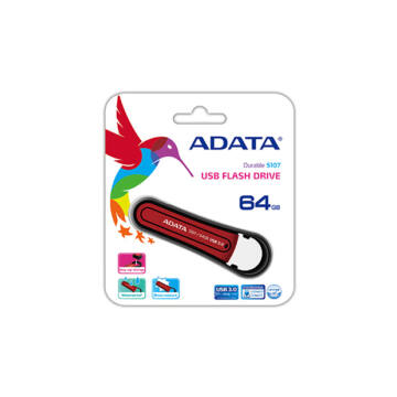 ADATA S107 Waterproof Shock-Resistant 64 GB pendrive USB 3.0 - Piros
