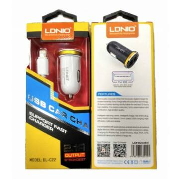 LDNIO Autóstöltő + lightning 2 USB port fehér 2.1A