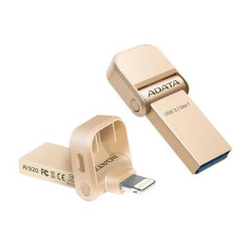 Adata I-Memory Ai920 32GB Pendrive USB 3.1 És Lightning Csatlakozóval, Apple iPhone És Ipad Készülékekhez - Arany (AAI920-32G-CGD)
