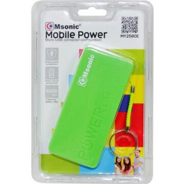 Msonic Power Bank 5000Mah, Li-Ion - Zöld