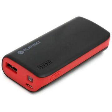 Platinet Power Bank 4400 mAh + Micro USB Kábel + Zseblámpa - Fekete-Piros 42916