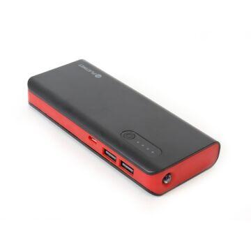 PLATINET Power Bank hordozható töltő 8000mAh + micro USB Kábel + zseblámpa - Fekete-Piros 42418