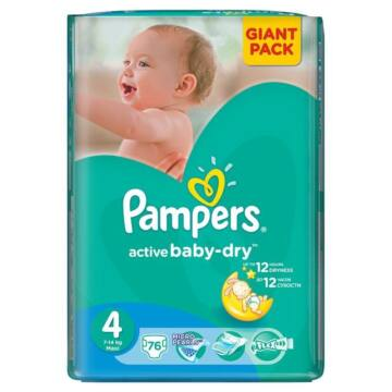 Pampers Active Baby Dry pelenka 4-es méret, 76 db