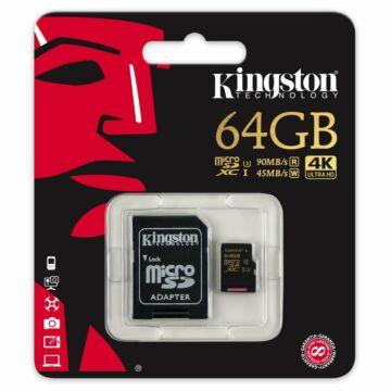 Kingston Gold 64 GB microSD + SD adapter UHS-I (U3) 4K UHD (90/45MBps) SDCG/64GB
