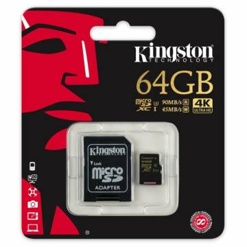 Kingston Gold 64 GB microSD + SD adapter UHS-I (U3) 4K UHD (90/45MBps) (SDCG/64GB)