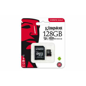 Kingston Canvas Select 128GB microSD memóriakártya + SD adapter Class 10 UHS-I (80MB/s olvasás) (SDCS/128GB)