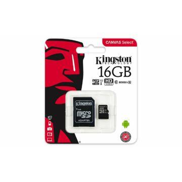 Kingston Canvas Select 16GB microSD memóriakártya + SD adapter Class 10 UHS-I (80MB/s olvasás) SDCS/16GB