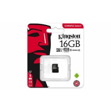 Kingston Canvas Select 16GB microSD memóriakártya Class 10 UHS-I (80MB/s olvasás) (SDCS/16GBSP)