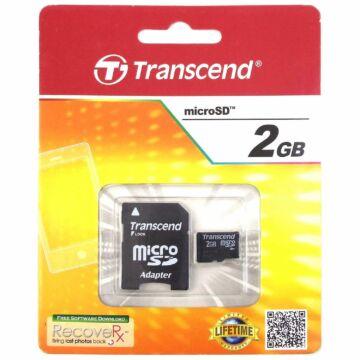 Transcend 2GB Micro SD Memóriakártya Class 2 + Adapter