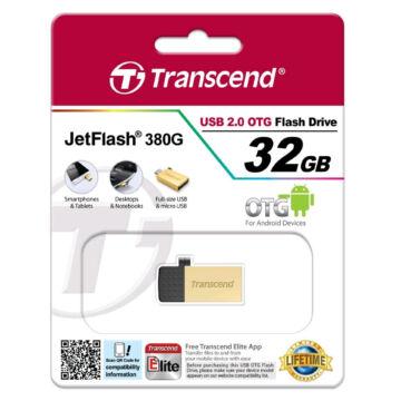 Transcend 32GB USB 2.0 Pendrive Jetflash 380 OTG Arany