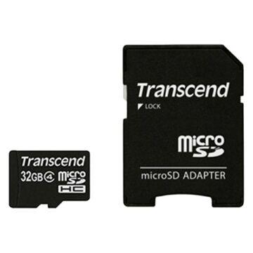 Transcend 32GB Micro SDHC Memóriakártya Class 4 + Adapter