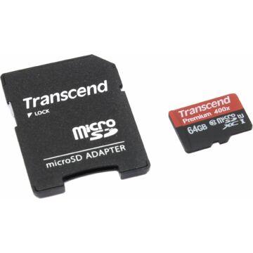 Transcend 64GB Micro SDXC Memóriakártya Cl10 UHS-I + Adapter