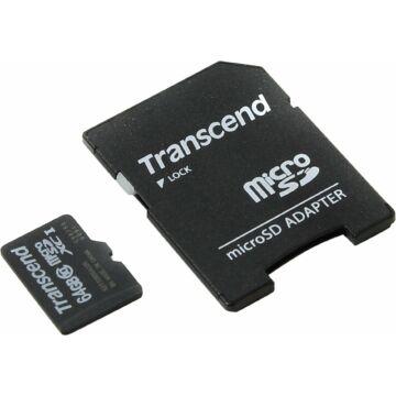 Transcend 64GB Micro SDXC Memóriakártya Premium Class 10 + Adapter