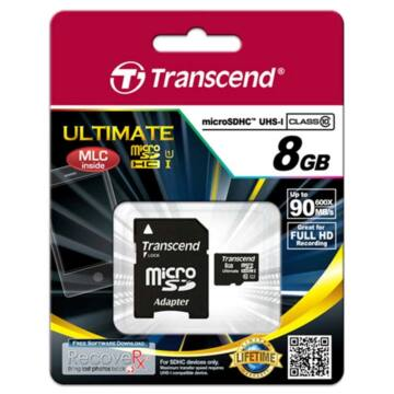 Transcend 8GB Micro SDHC Memóriakártya Cl10 UHS-I 600X