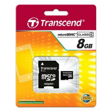 Transcend 8GB Micro SDHC Memóriakártya Class 4 + Adapter