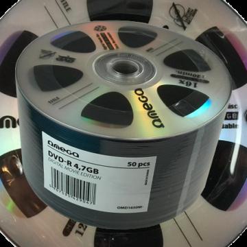 Omega DVD-R 4,7GB Lemez, Digital Movie Edition Ezüst - Shrink (50)