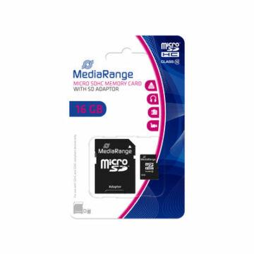 Mediarange 16GB Micro SDHC Memóriakártya Class 10 + Adapter