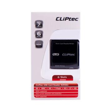 Cliptec Kártya Olvasó 6 Slots RZR 502-01 Fekete
