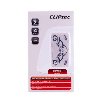 Cliptec Kártya Olvasó 4 Slots + 3 Port RZR 524-00 Fehér