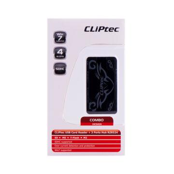 Cliptec Kártya Olvasó 4 Slots + 3 Port RZR 524-01 Fekete