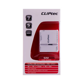 CLIPTEC kártya olvasó + SIM CARD ,4 SLOTS RZR 622-00 fehér