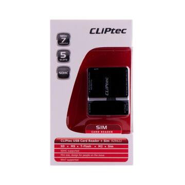Cliptec Kártya Olvasó + Sim Card ,4 Slots RZR 622 -01 Fekete