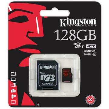 Kingston 128GB Micro SDXC Memóriakártya UHS-I Class U3 (90/80 Mb/s) + Adapter (SDCA3/128GBSP)